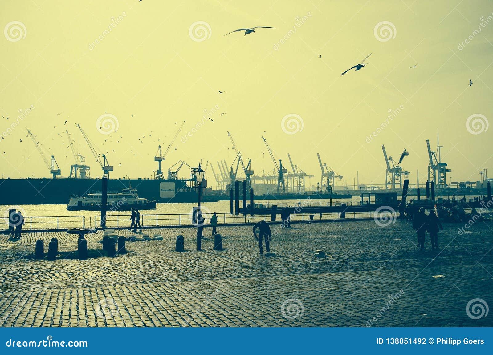 Special atmosfär på fiskmarknaden i hamburg med en sikt av hamnen