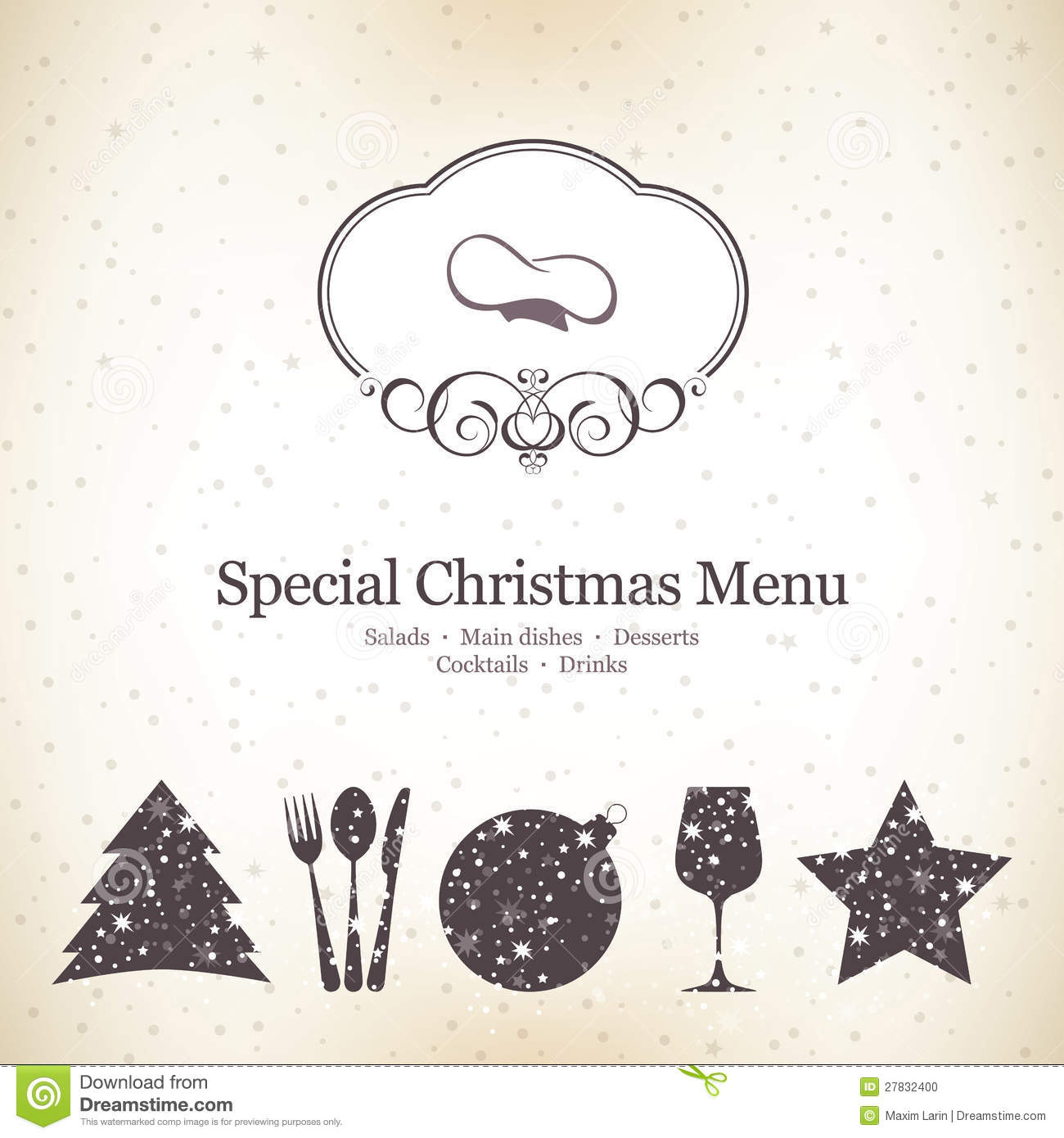 special christmas menu design stock vector illustration of chef