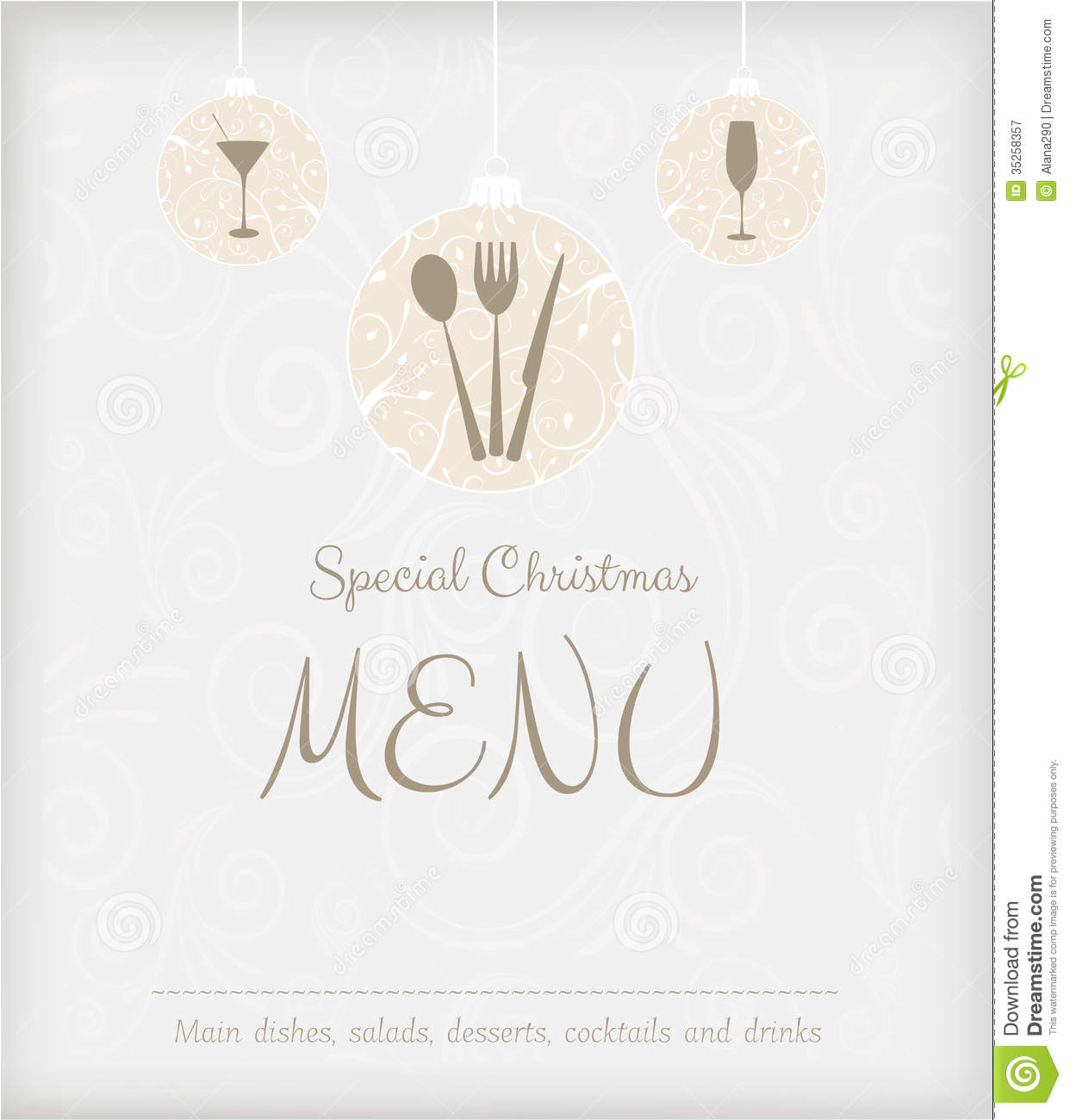 special christmas menu design stock vector illustration of food