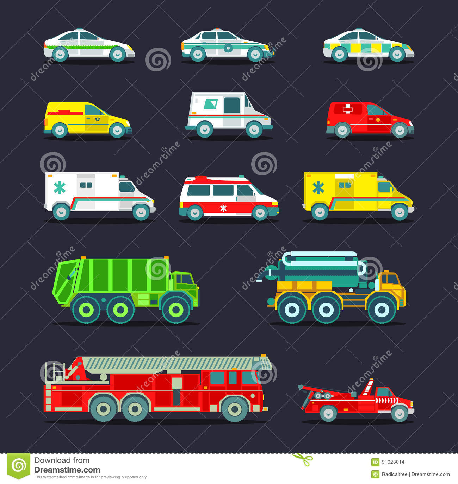 Special da cidade, carros do serviço de urgências e coleção municipais dos ícones dos caminhões Transporte da cidade do vetor aju