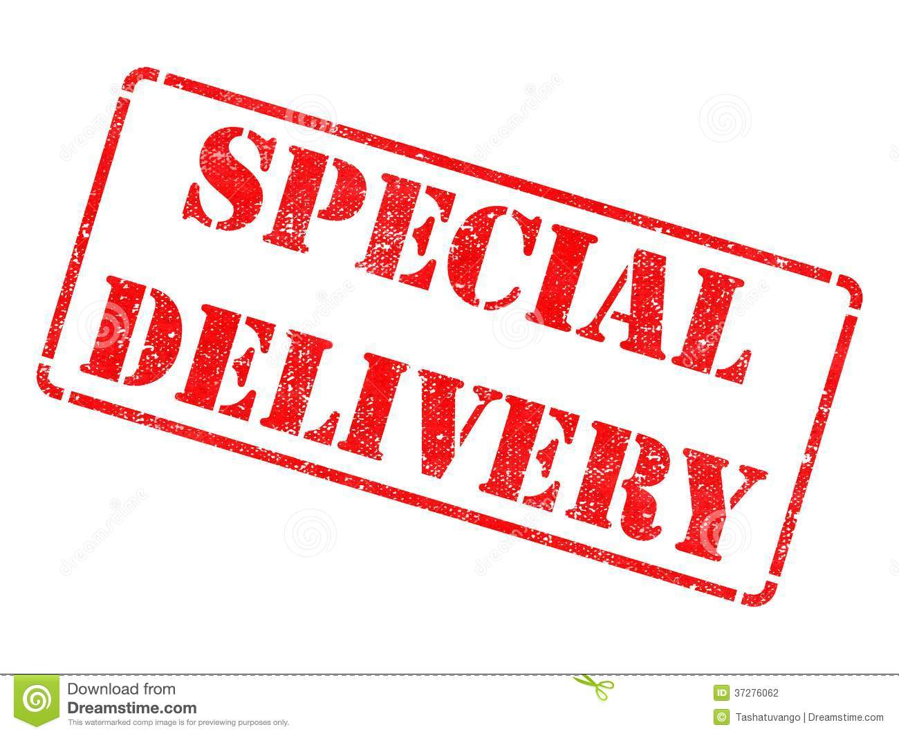 Special Delivery On Red Rubber Stamp Stock Photography