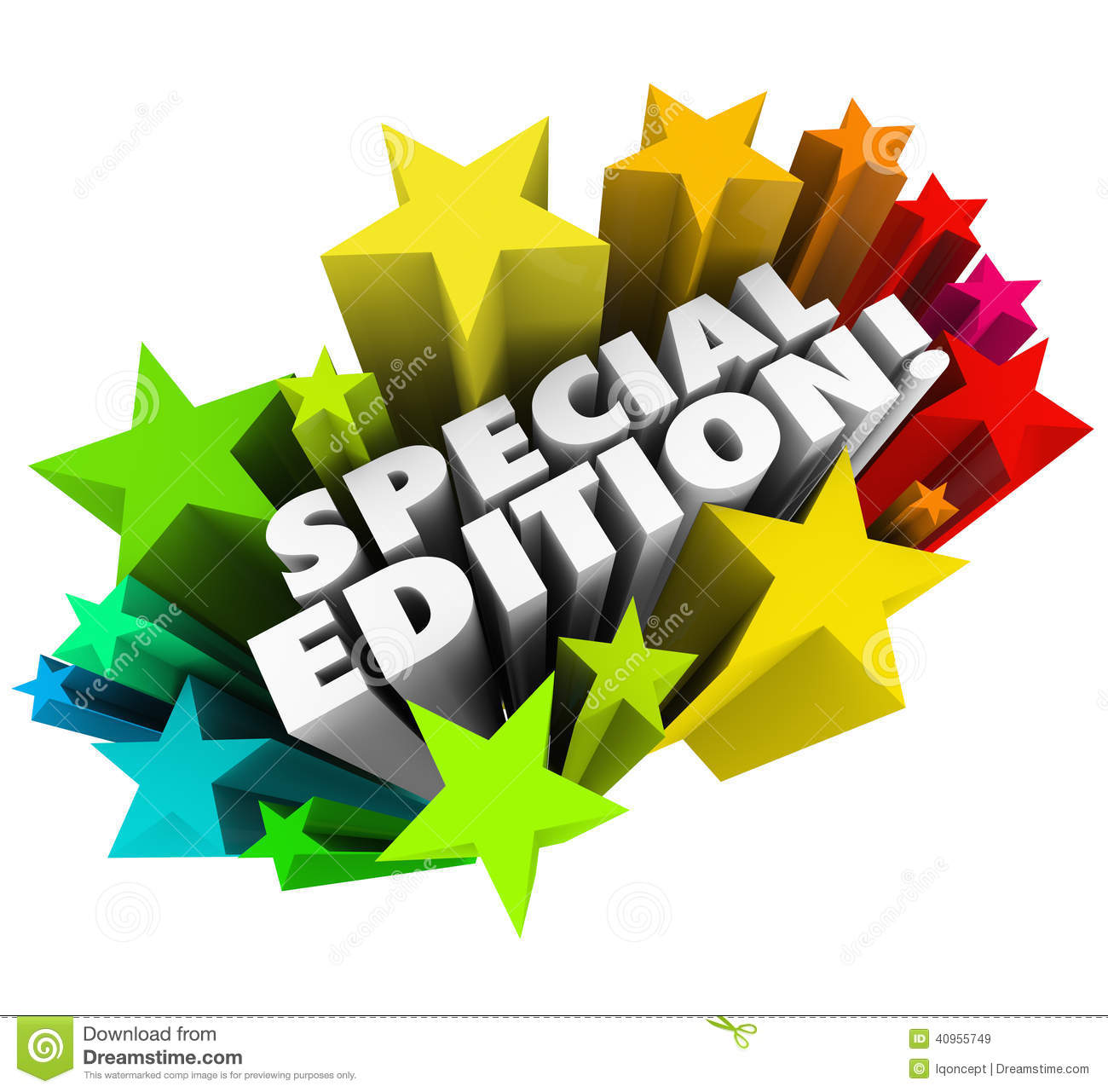 newest 9ba14 f08c4 Special Edition words in a colorful starburst or fireworks to advertise a  limited or collectors package, issue or version of a new product or service