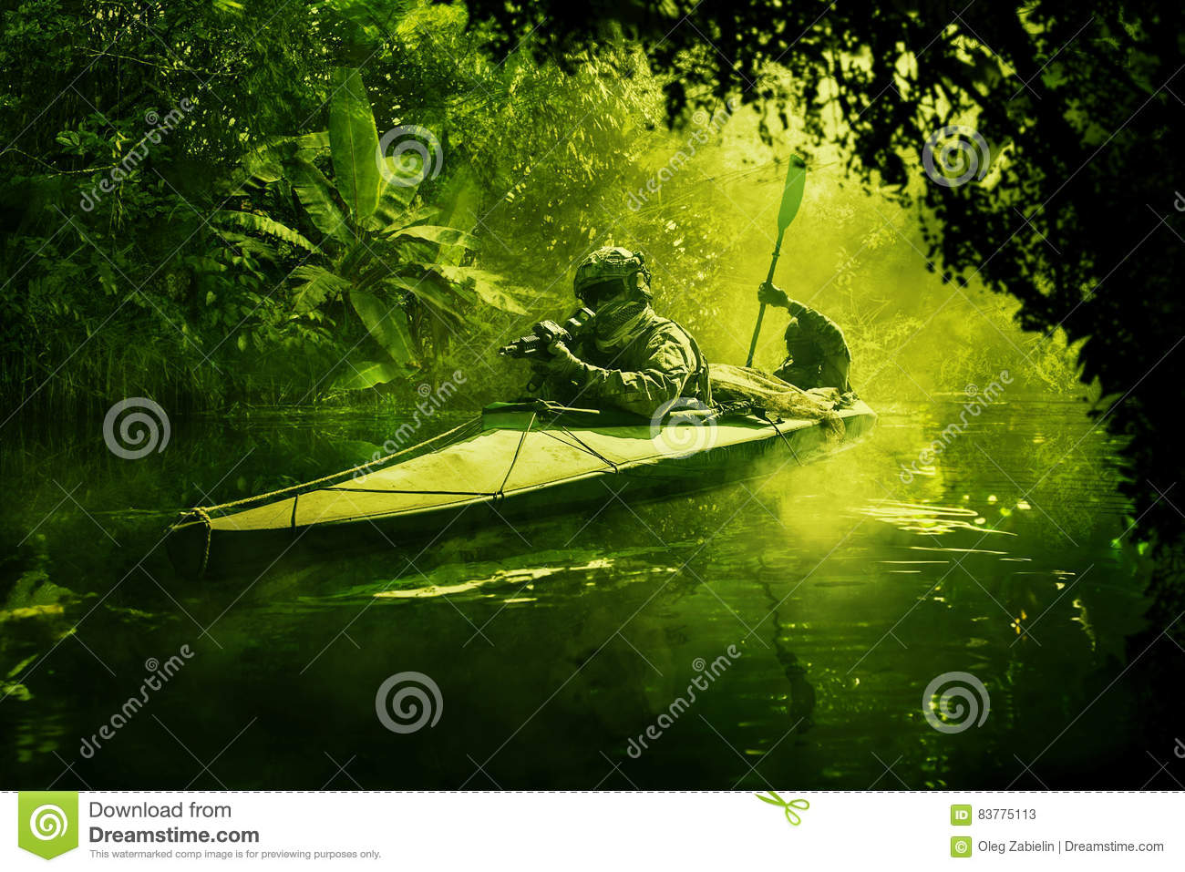 Special forces in the military kayak in the jungle