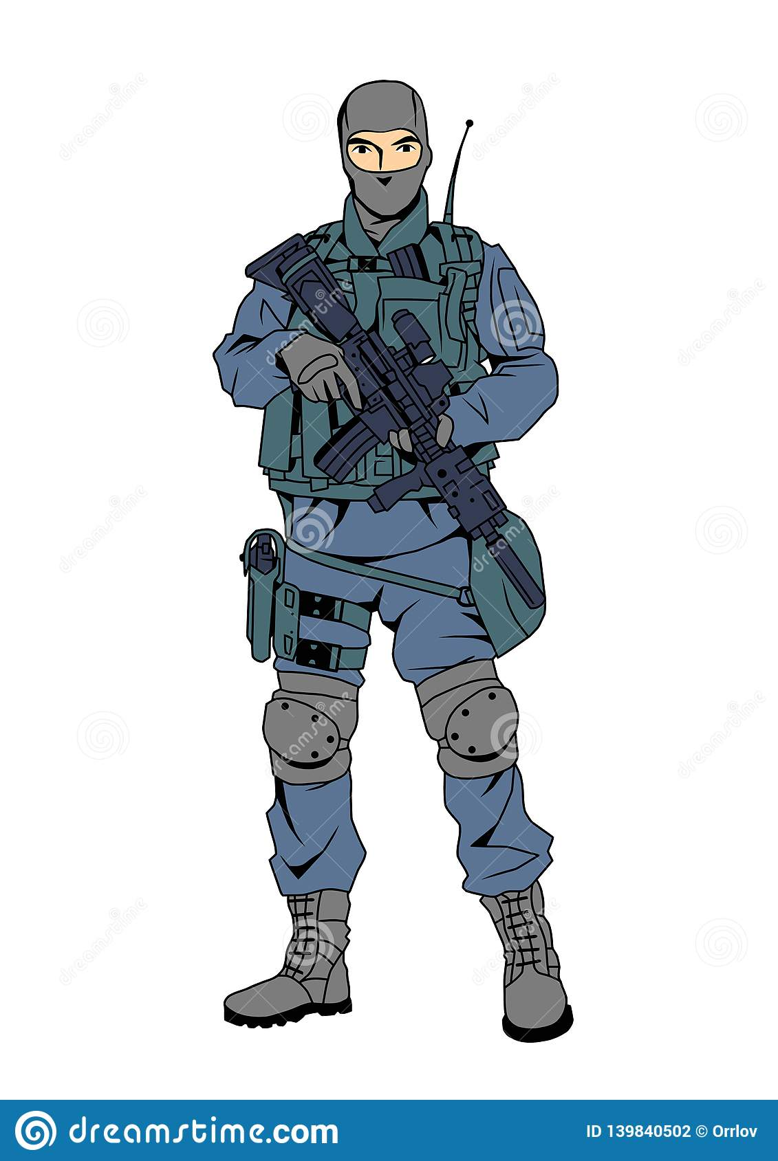 Special Forces Police Officer Cartoon Character Color Drawing