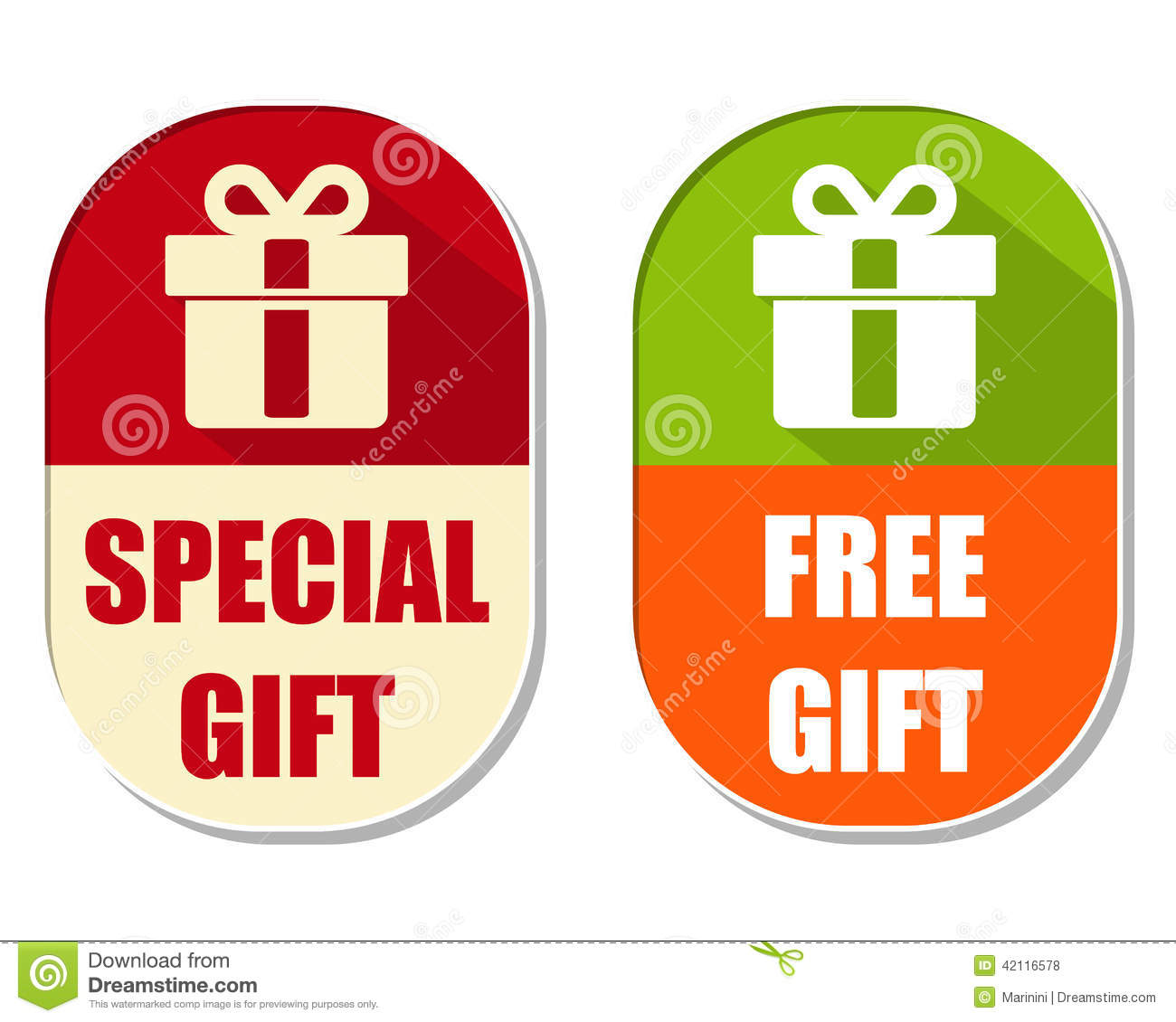 Special And Free Gift With Present Box Sign Two Elliptical Labe