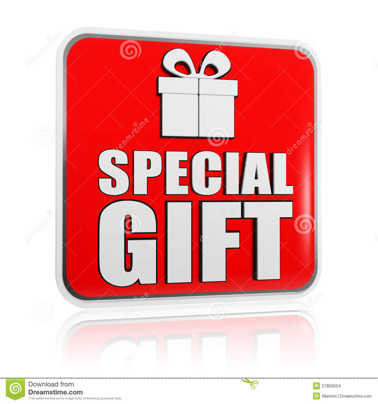 Special gift banner with present box symbol stock