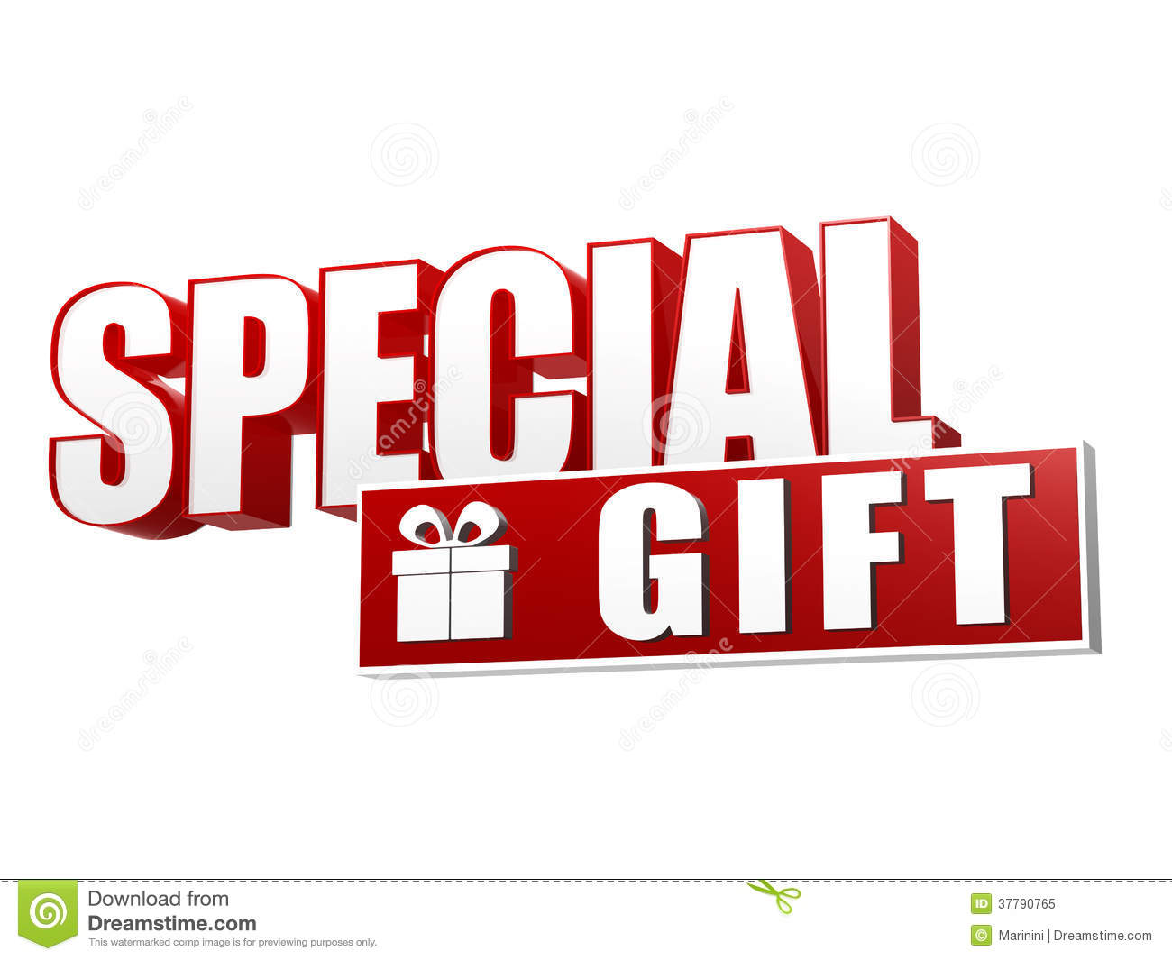 Special gift and present box symbol - text in 3d red and white letters ...