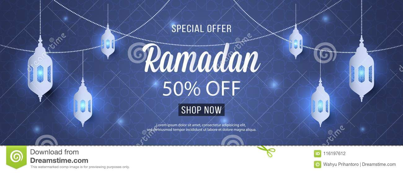 Special Offer Ramadan Sale Islamic Ornament Lantern Mosque Banner