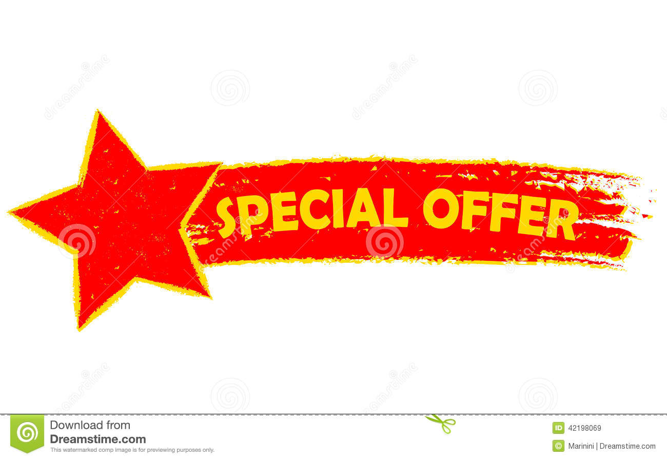 Special offer with star banner - text in yellow and red drawn label ...: dreamstime.com/stock-illustration-special-offer-star-yellow-red...