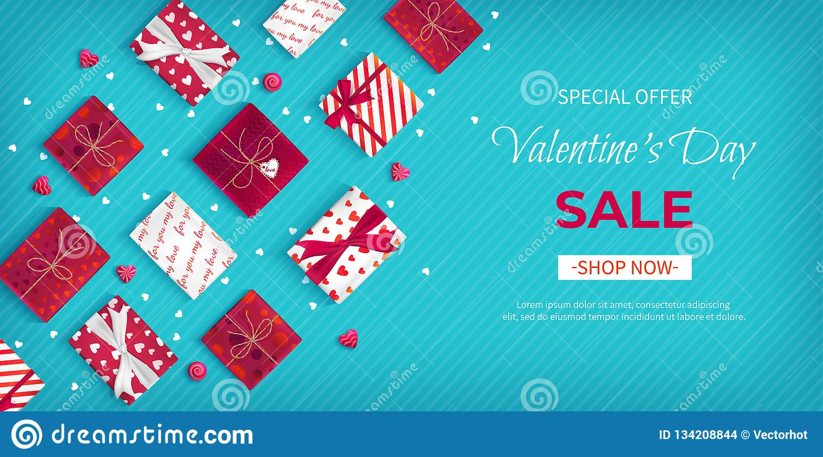 Special offer Valentine`s Day Sale. Discount flyer, big seasonal sale. Horizontal Web Banner with many holiday gift Boxes