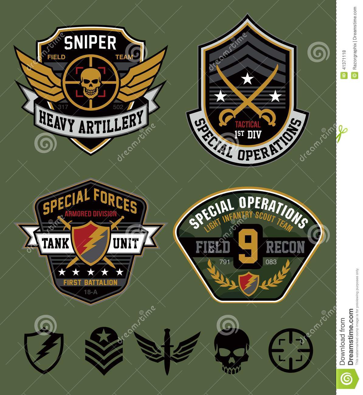 Patch cartoons illustrations vector stock images for Military patch template