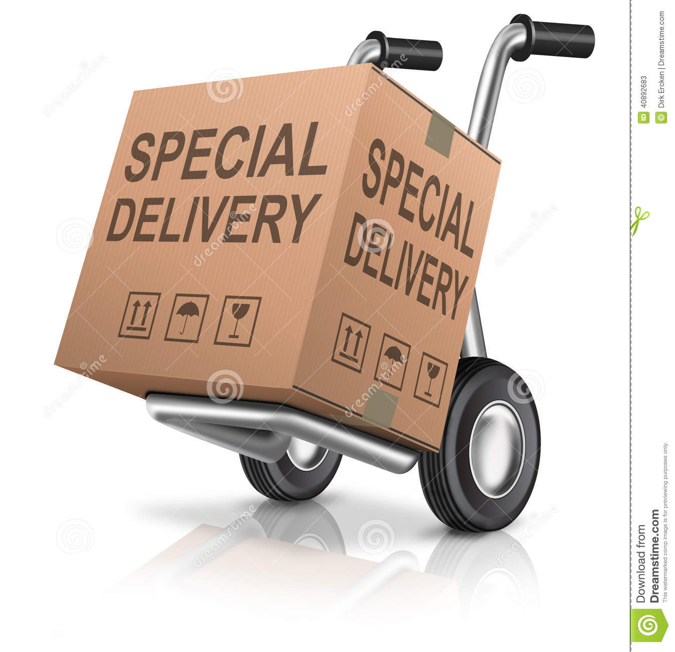 Shipping Delivery: Special Package Delivery Cardboard Box Stock Illustration