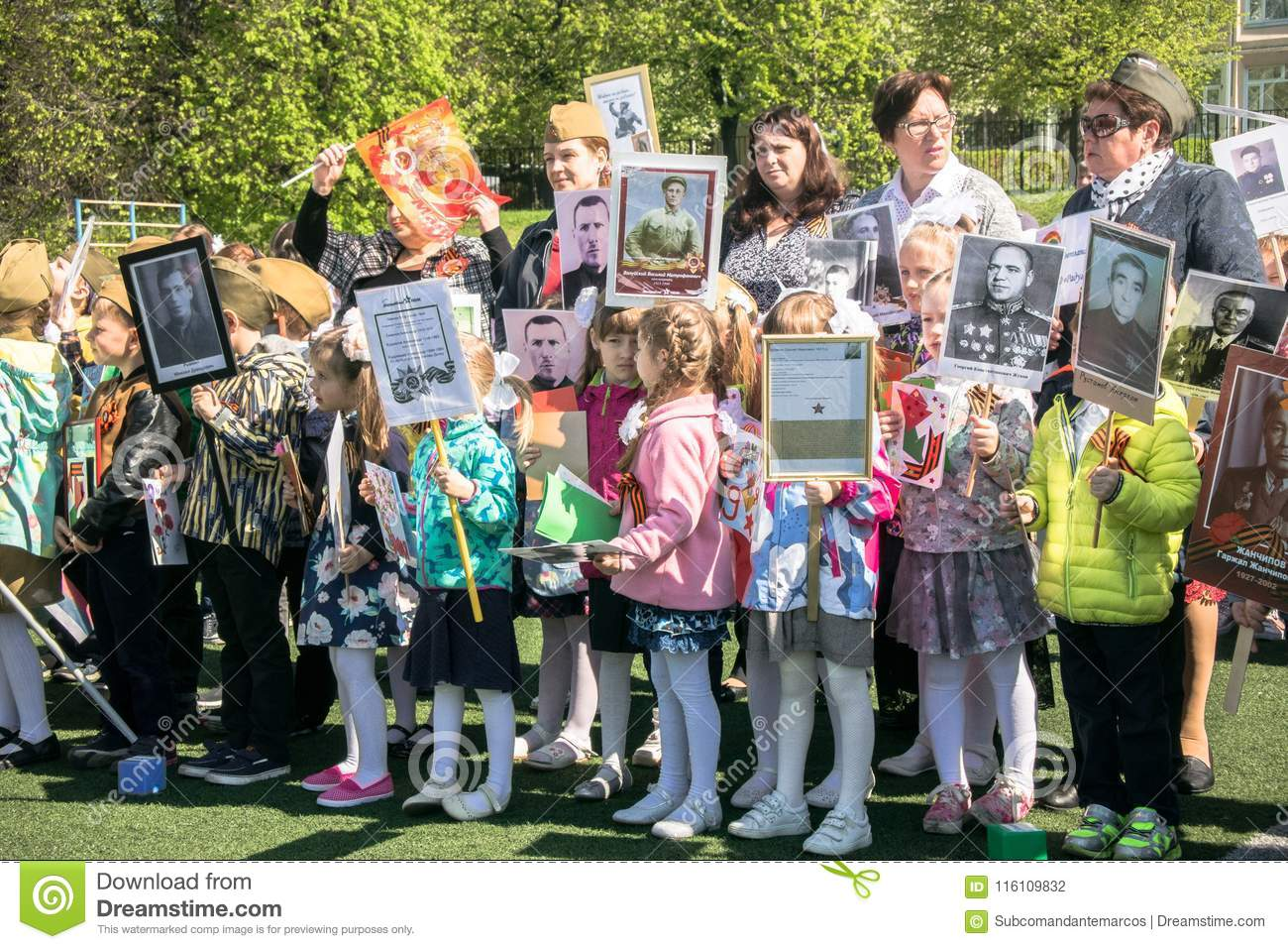Russia. Moscow, May,07.18: Special public kindergarten action `Immortal regiment`, military state propaganda for russian kids.