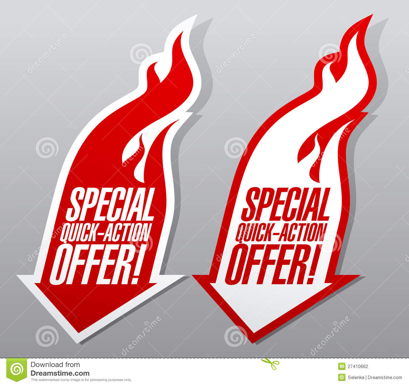 Offer: Special Quick Action Offer Symbols. Stock Vector