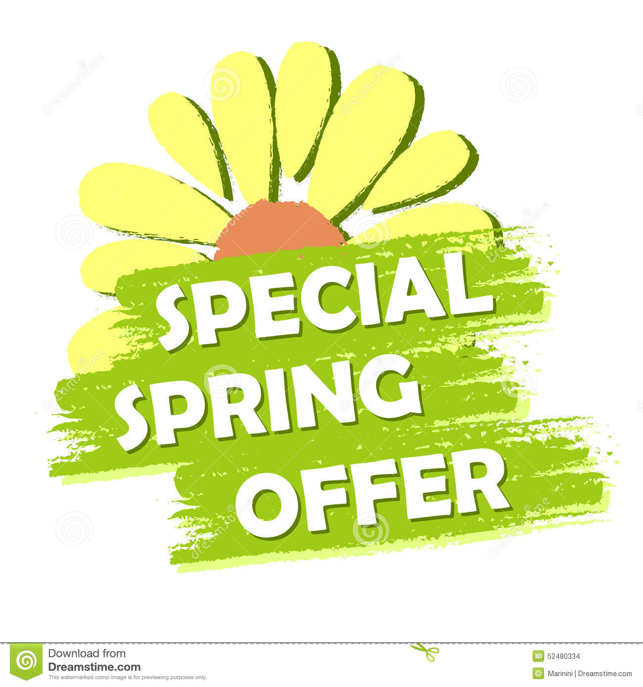 Special Spring Sale With Flower Green Drawn Label Stock Illustration Image