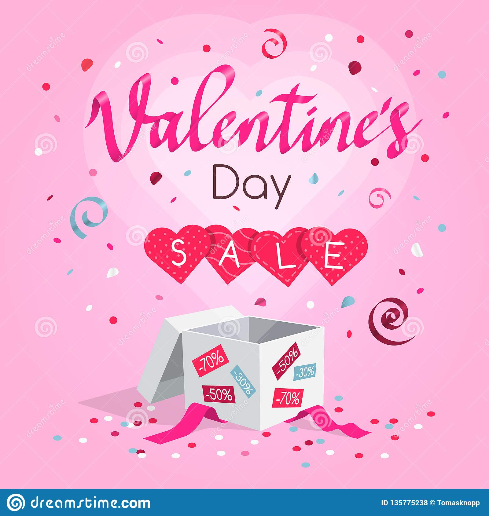 Special Valentine`s day sale symbol with gift, flying hearts, confetti and rose petals