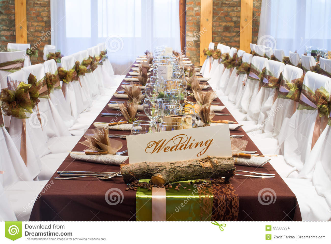 Special Wedding Table Decorations Stock Photo Image Of Brown