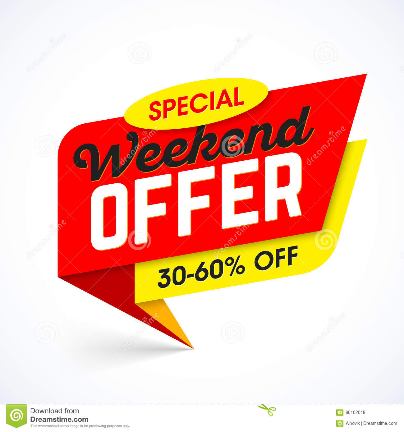 Weekend Sale Banner: Special Weekend Offer Sale Banner Stock Vector