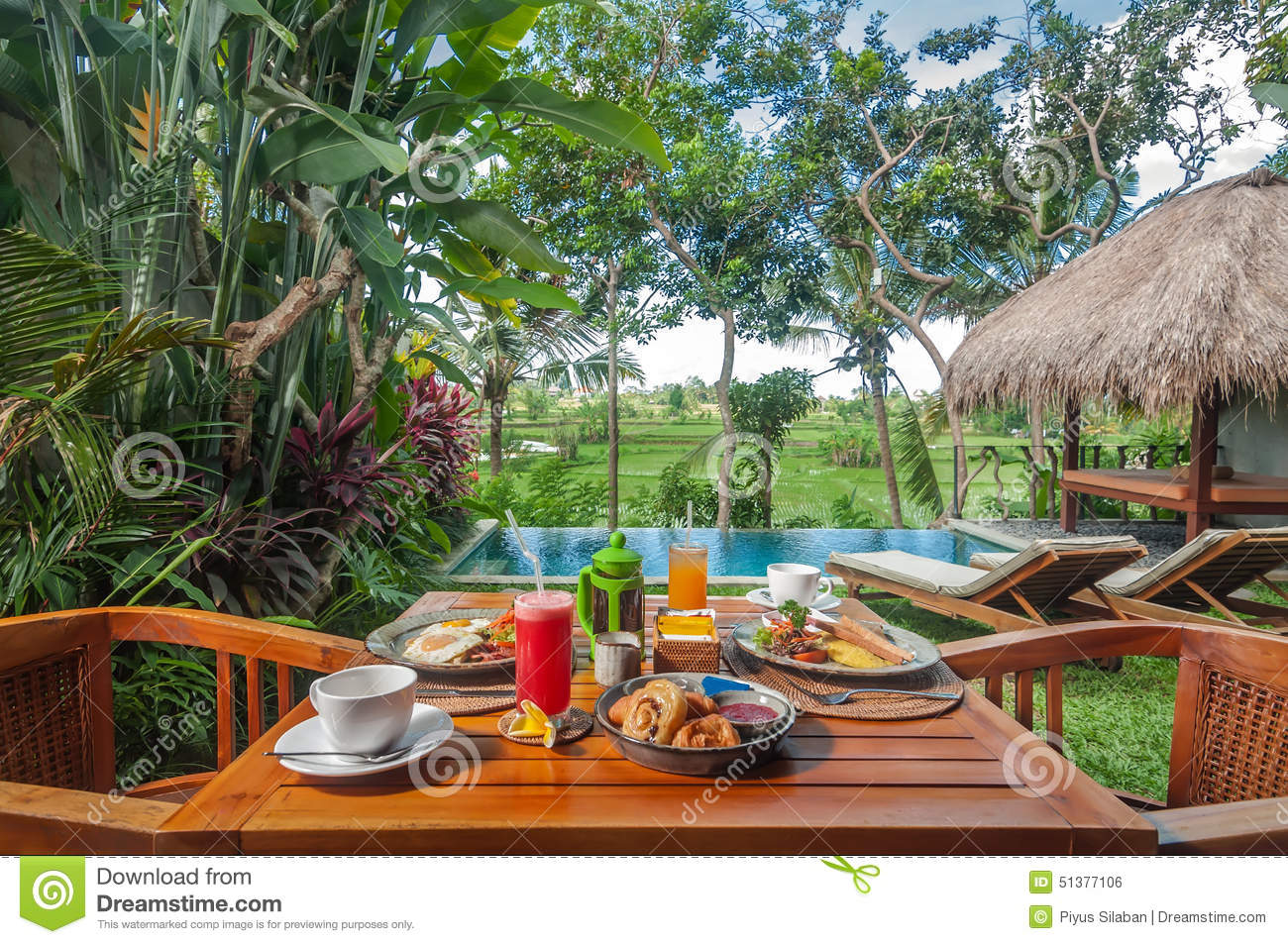 Special western breakfast menu set on the table outdoor in for Green garden pool jakarta