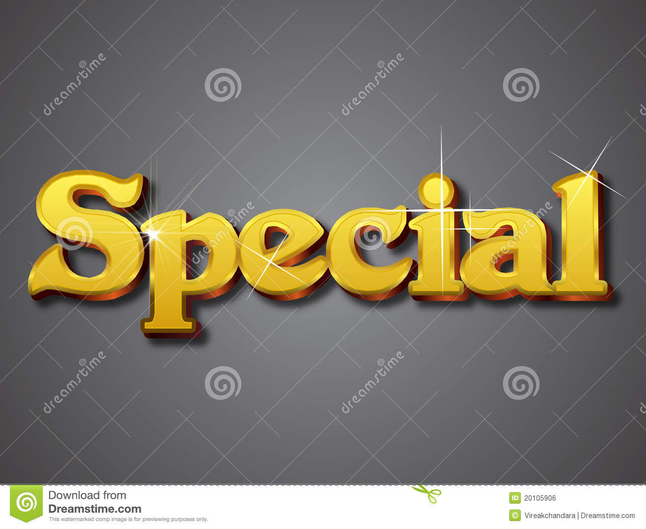 special write in gold 3d font royalty free stock image