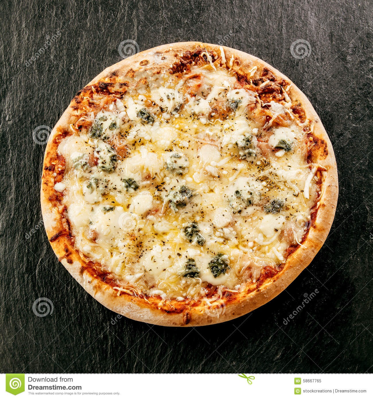speciality italian food four cheeses pizza stock photo image 58667765. Black Bedroom Furniture Sets. Home Design Ideas