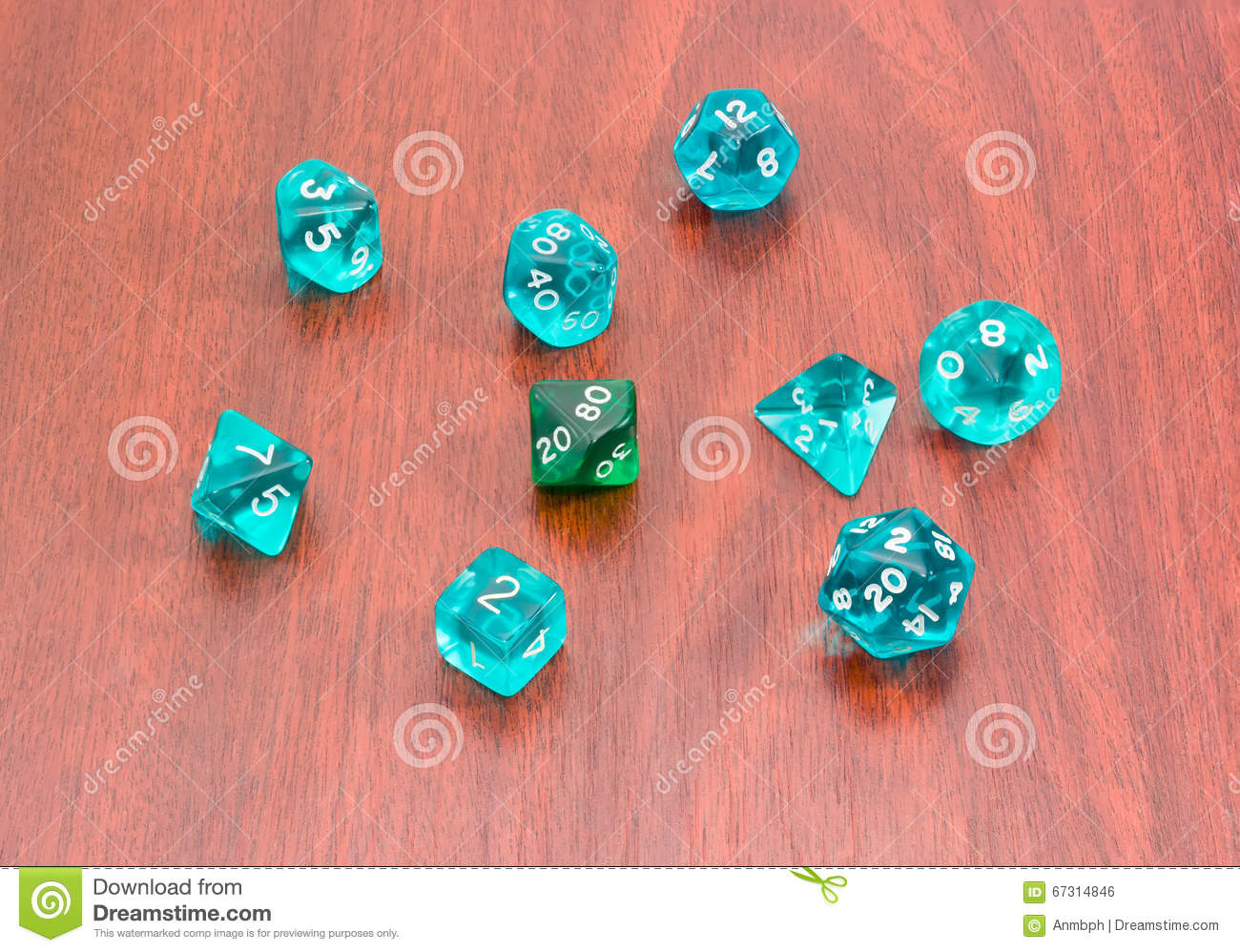 Specialized Polyhedral Dice For Role Playing Games On Wooden Surface