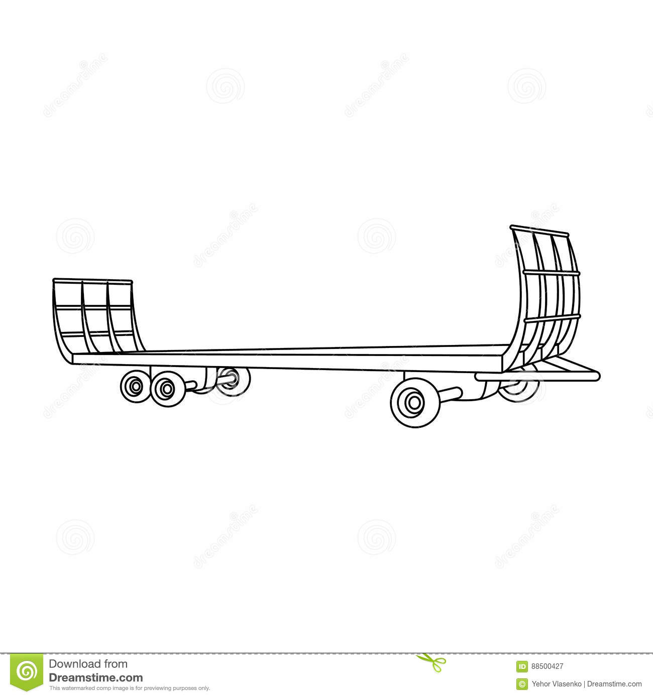 Specialized Trailer On Wheels For Trucks For Transportation Of Hay