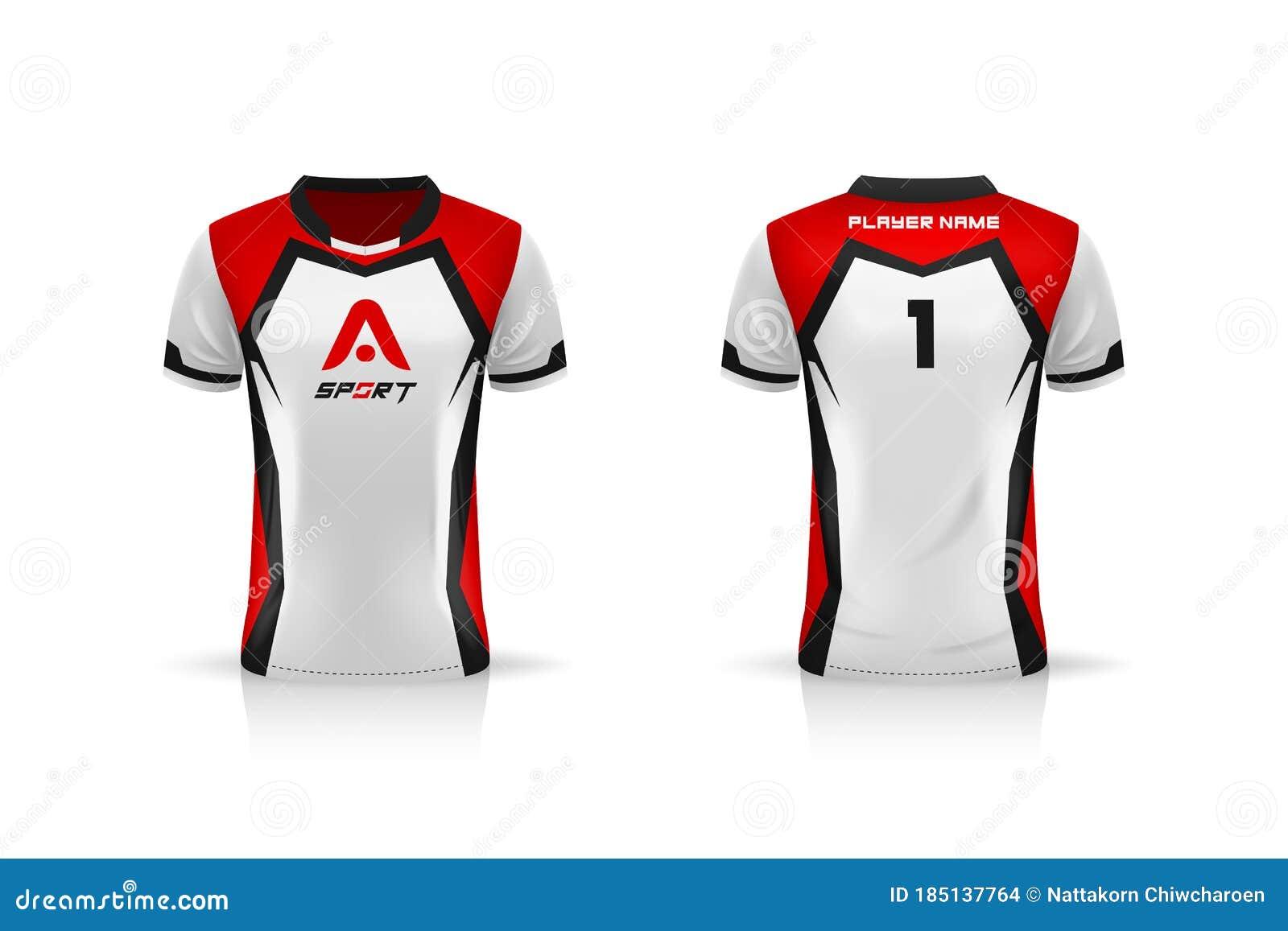 Specification Soccer Sport Esport Gaming T Shirt Jersey Template Mock Up Uniform Vector Illustration Stock Vector Illustration Of Game Sport 185137764