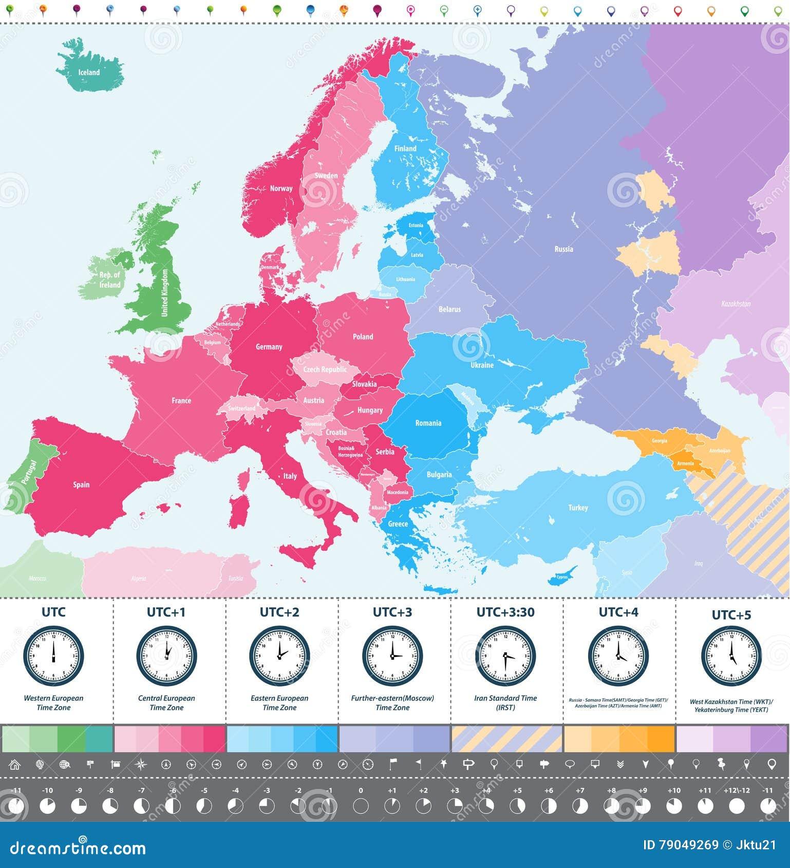 Karta Europa Tidszoner.Specificerad Oversikt For Europa Tidszoner Hojdpunkt Med Lage Och