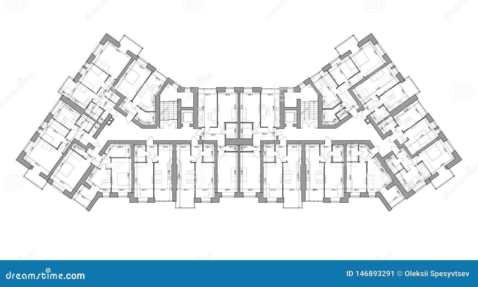 Specificerat arkitektoniskt golvplan, lägenhetorientering, ritning vektor