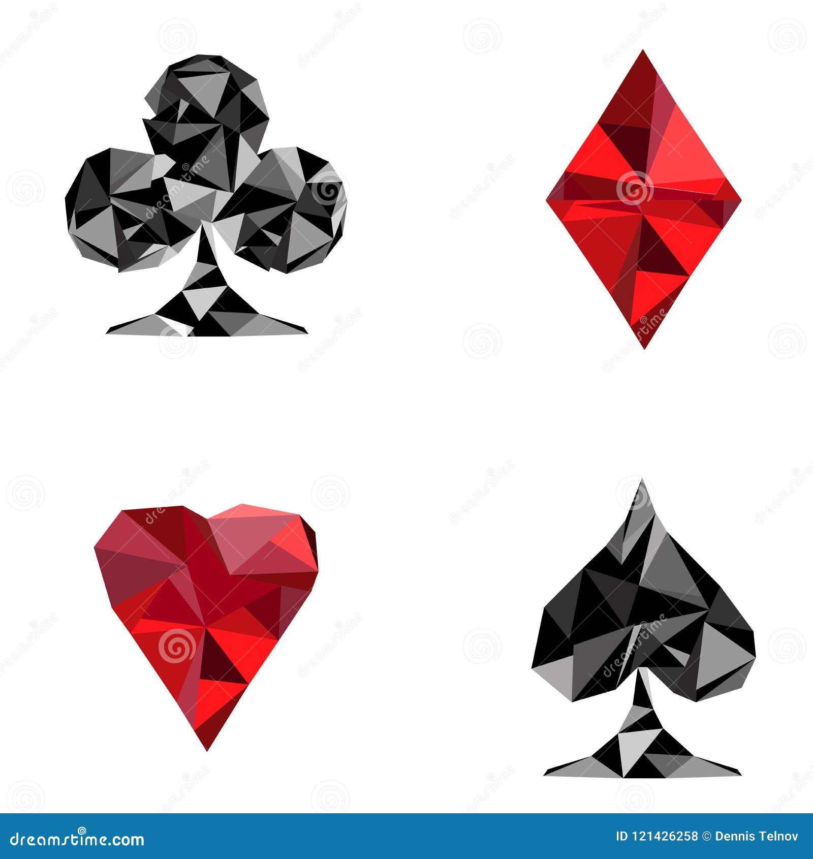 Specifieke Vlakke vector zwarte en rode kleurrijke speelkaarten Diamanten, clubs, harten en snoeken voor pook Vector illustratie