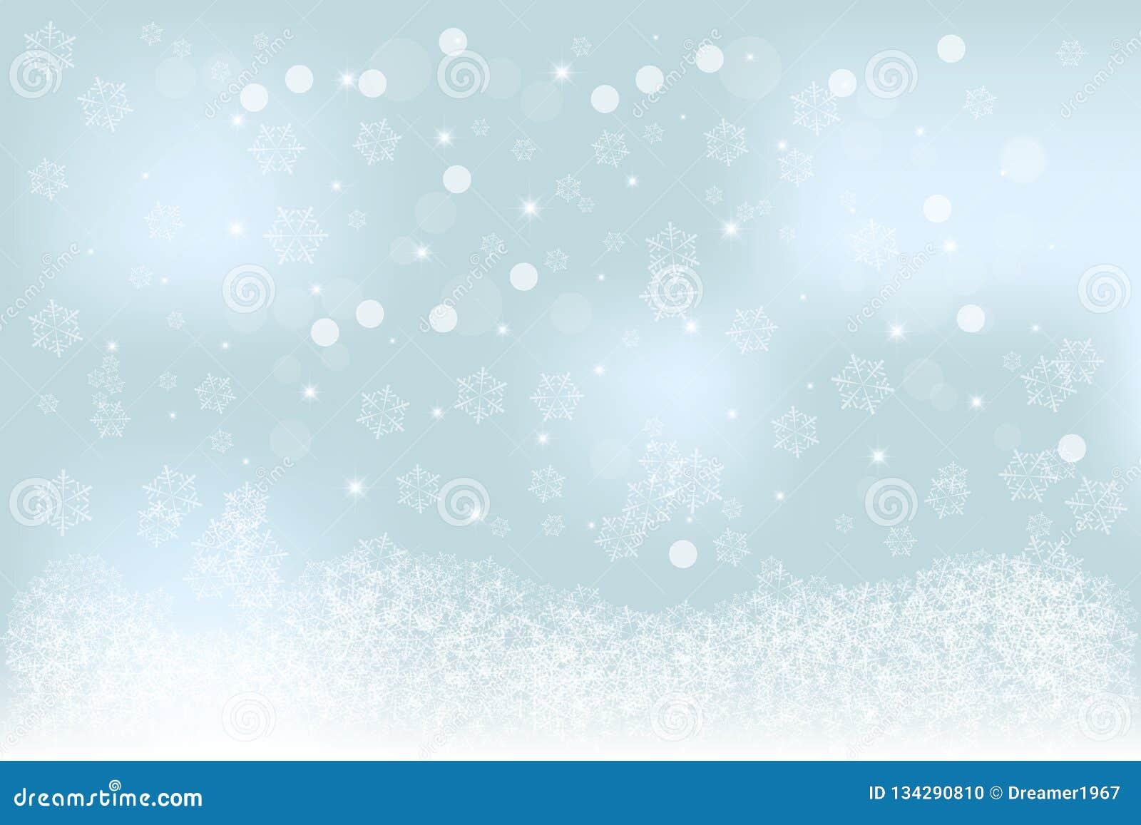 Specifik mjuk suddig vinterbakgrund för jul med blått, turkosbokeh, snöflingamodell