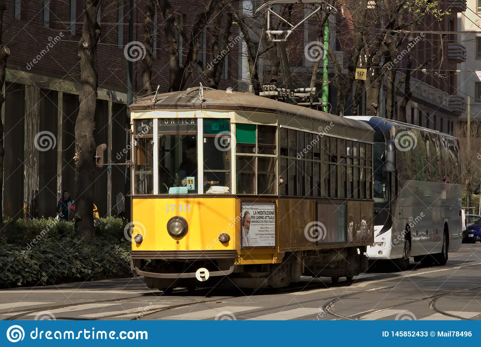 Milan. March 21 2019. An ancient tram in the center of Milan