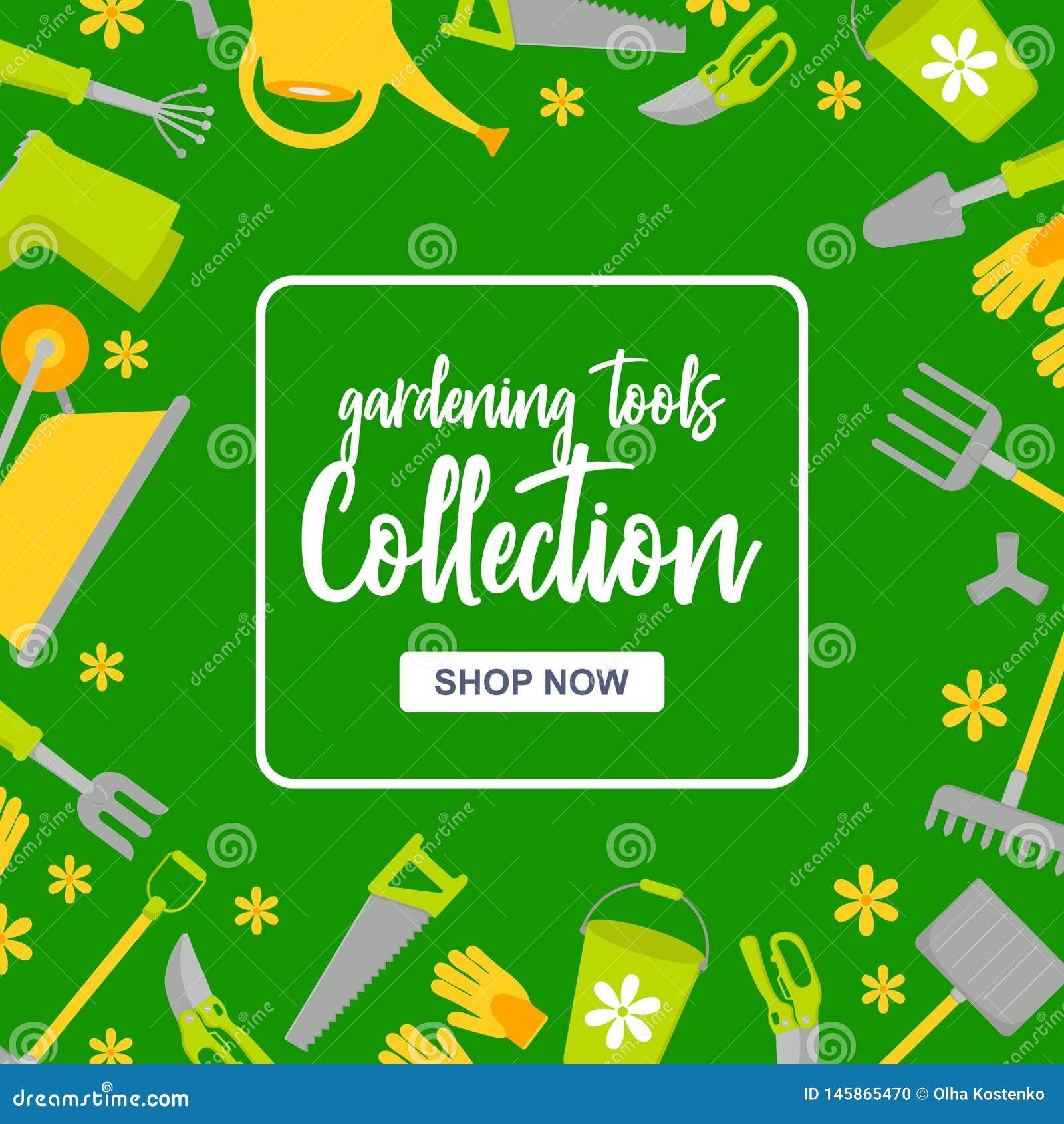 Specjalnej sprzedaży plakat z ogrodowymi narzędziami na zielonym tle Ogrodnictwo instrumenty inkasowi z guzika sklepem teraz
