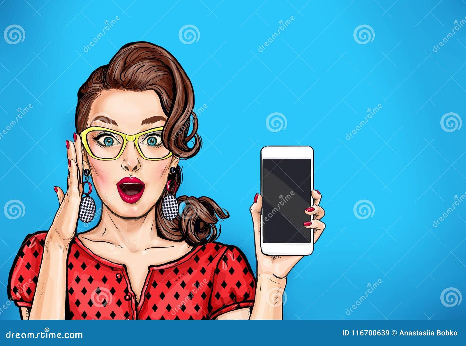 Specs的可爱的性感的女孩与电话在手上在可笑的样式 流行艺术妇女