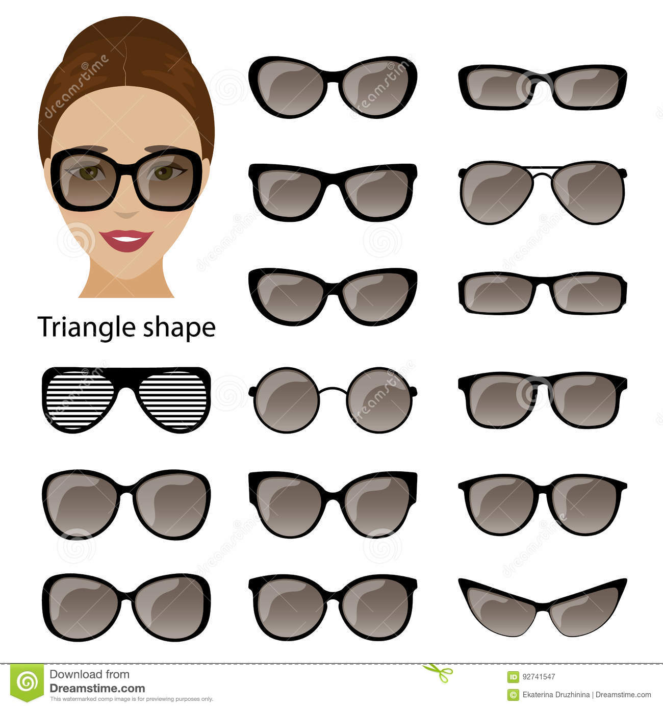 Spectacle Frames And Triangular Face Stock Vector - Illustration of ...