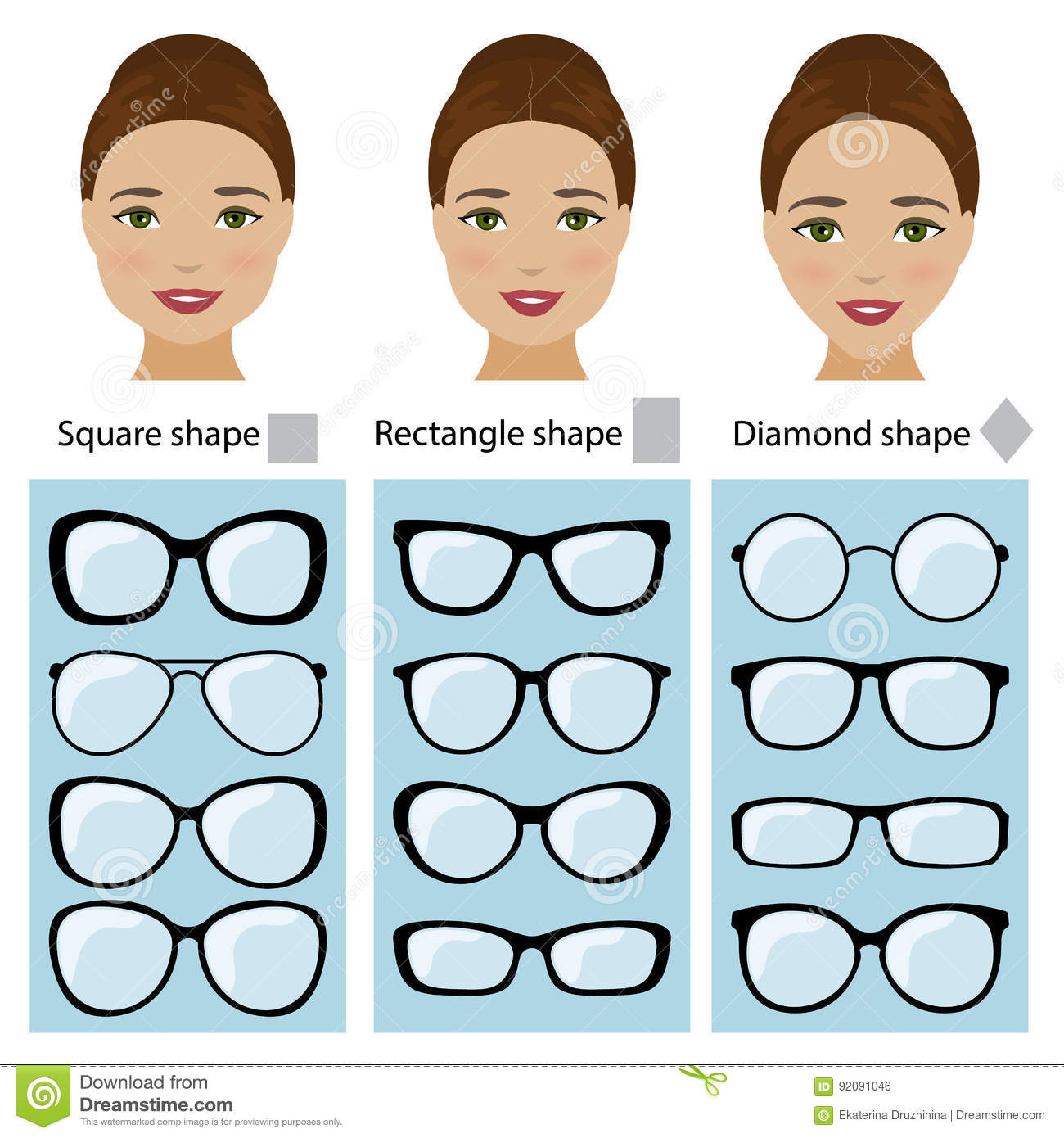 33c2292a6c11 Spectacle frames shapes for different types of women face shapes. Face types  as square