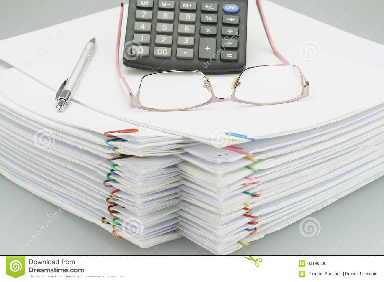 Pile Of Overload White Paper And Reports Stock Photo - Image: 63040831