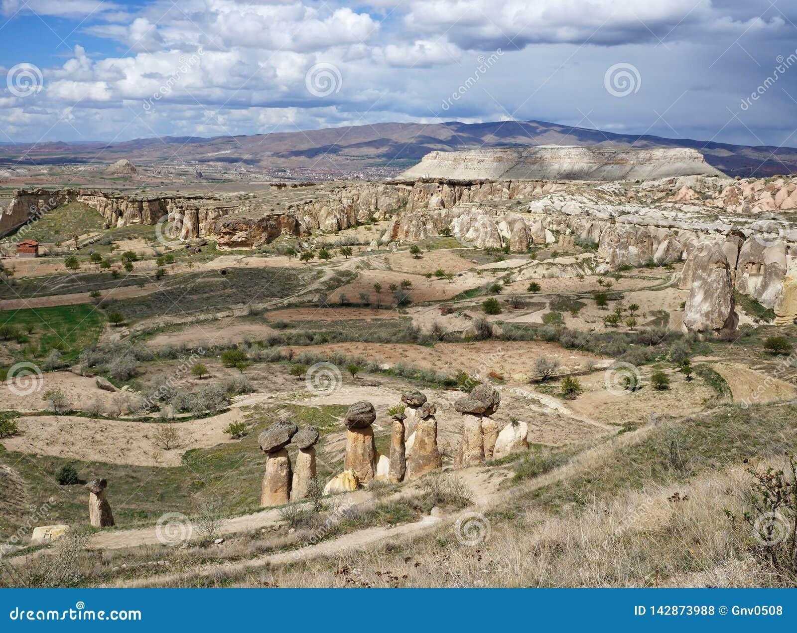 Spectaculaire horizonmening vanaf de bovenkant van Chavushin-kasteel Groep de rotsvorming van de feeschoorsteen bij de voorgrond