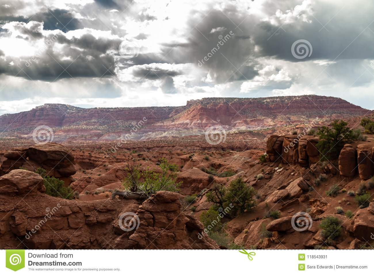 Spectaculaire onweerswolken over Groot Nationaal Monument trap-Escalante in Paria, Utah