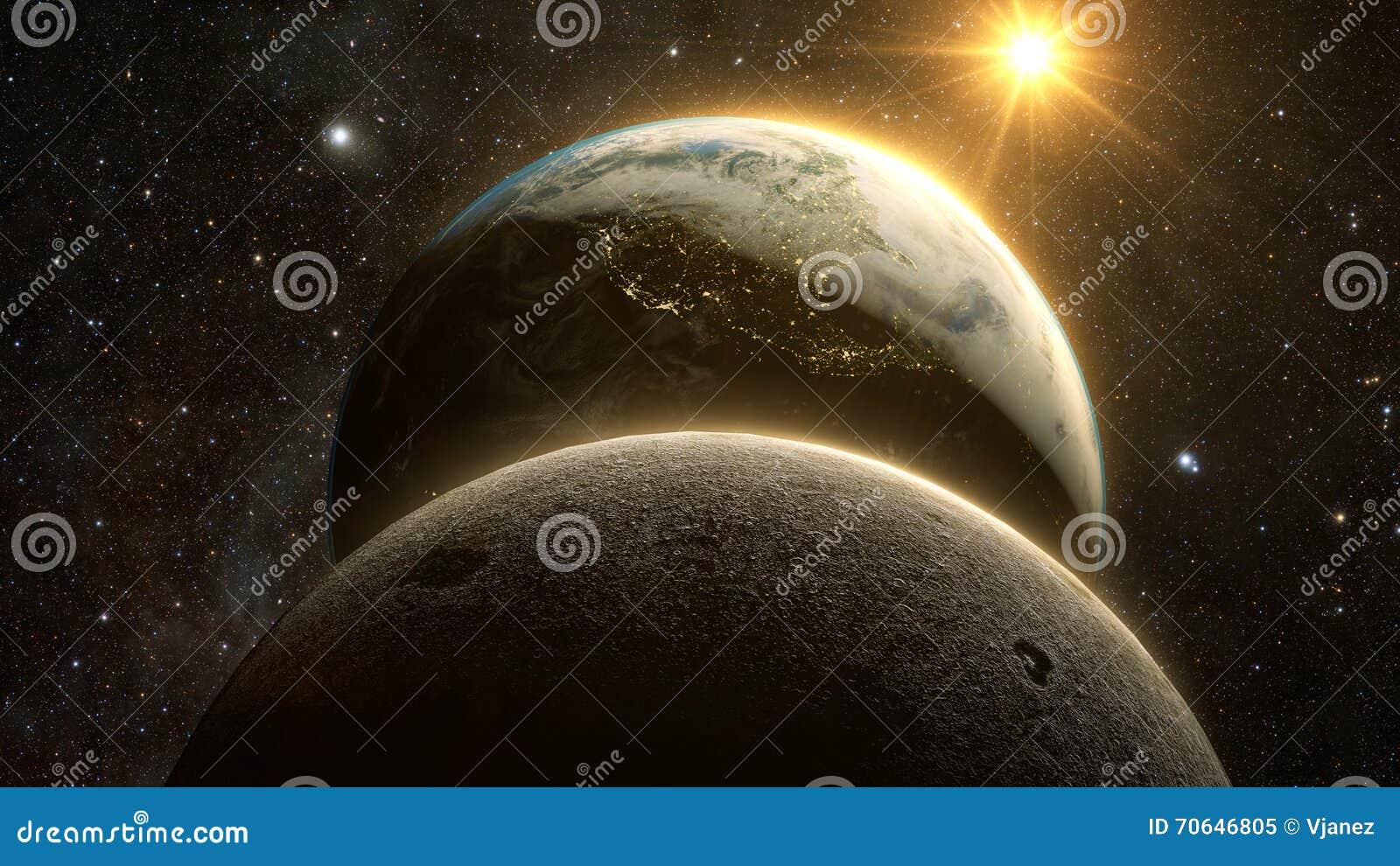 Spectaculaire zonsopgangmening over Aarde en maan