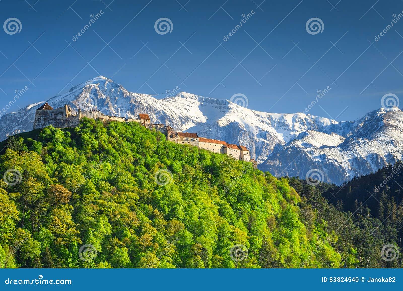 Spectacular medieval citadel in Rasnov city, Brasov region, Transylvania, Romania