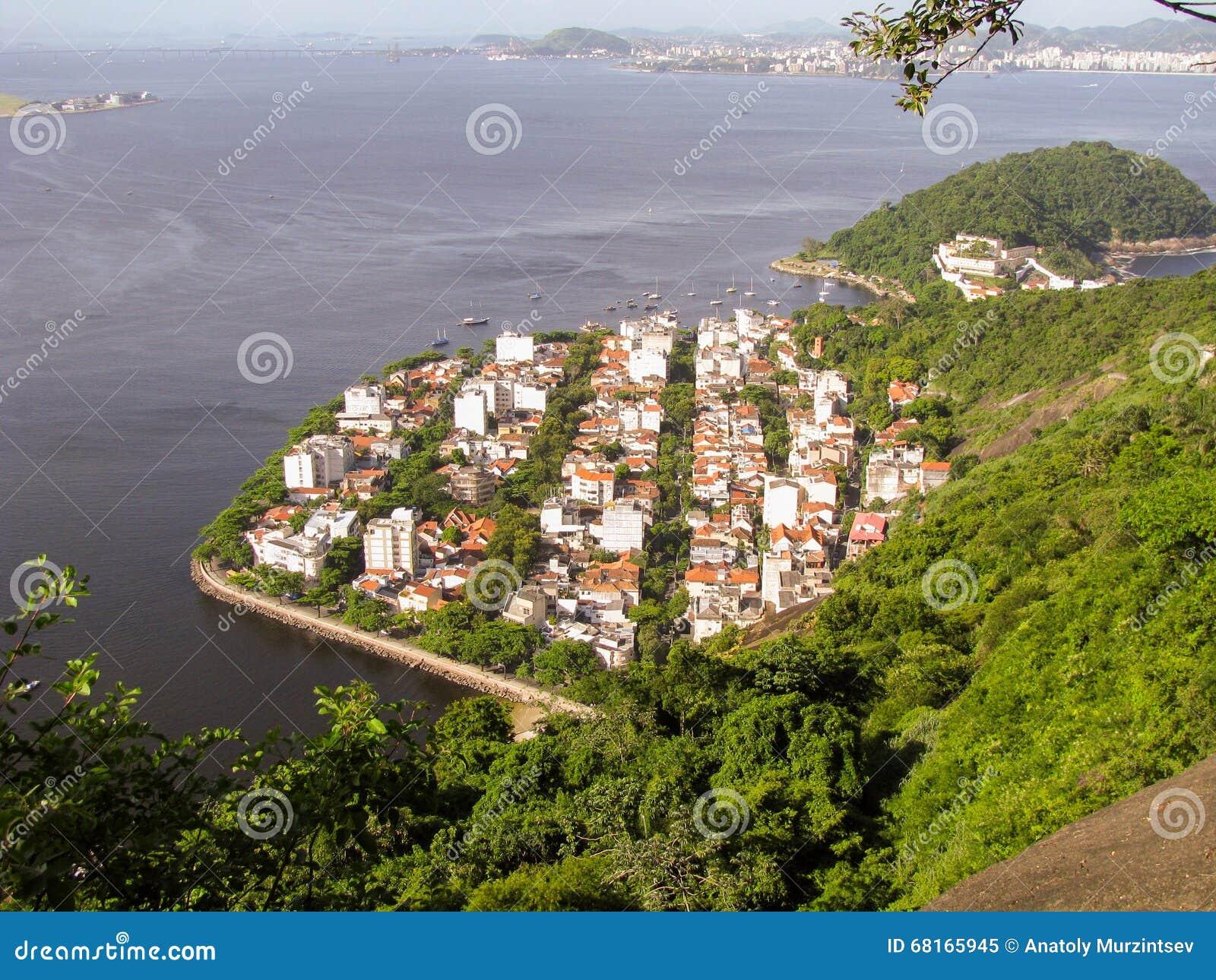 Spectacular panorama and aerial city view of Rio de Janeiro