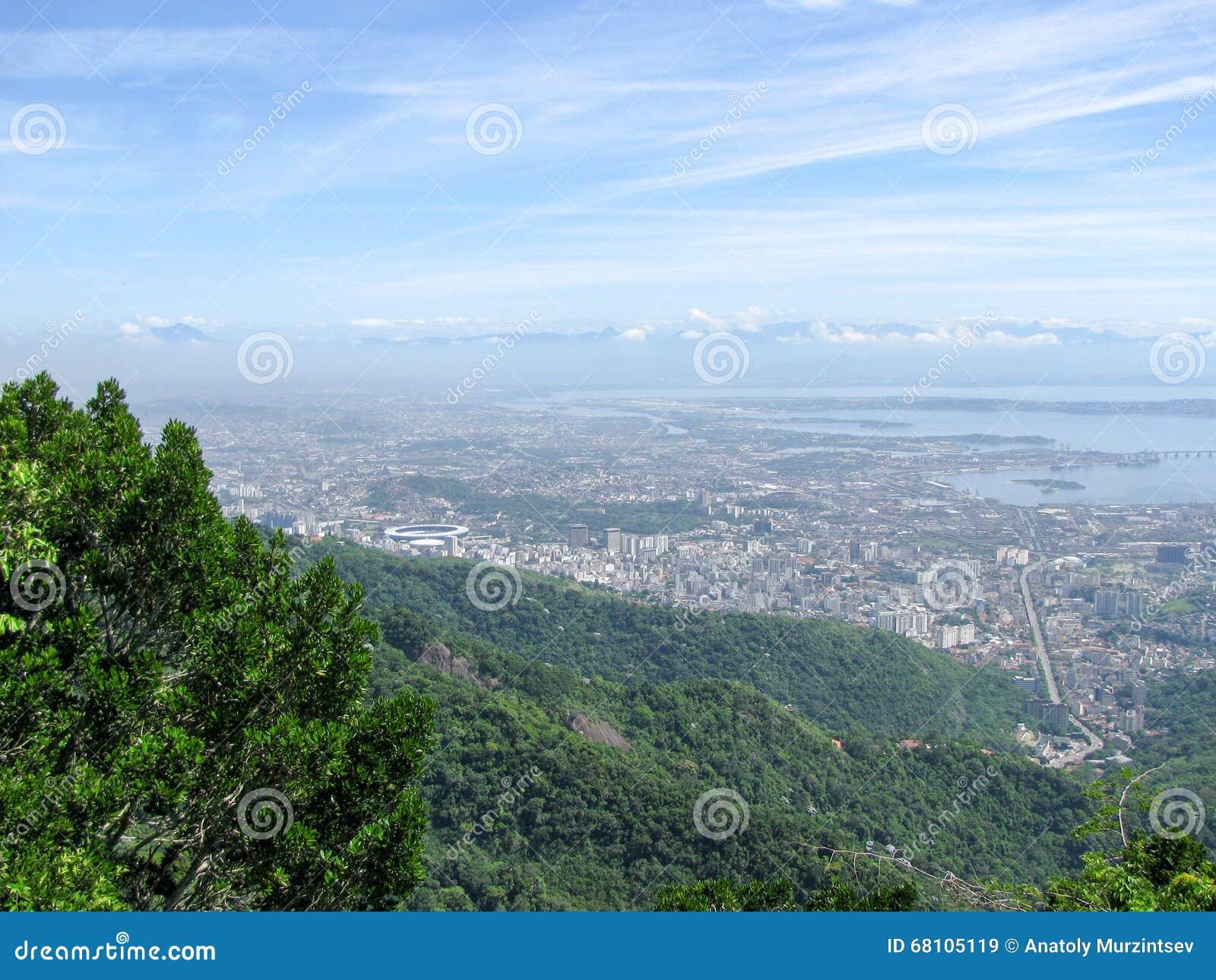 Spectacular panorama and aerial city view of Rio de Janeiro, Brazil