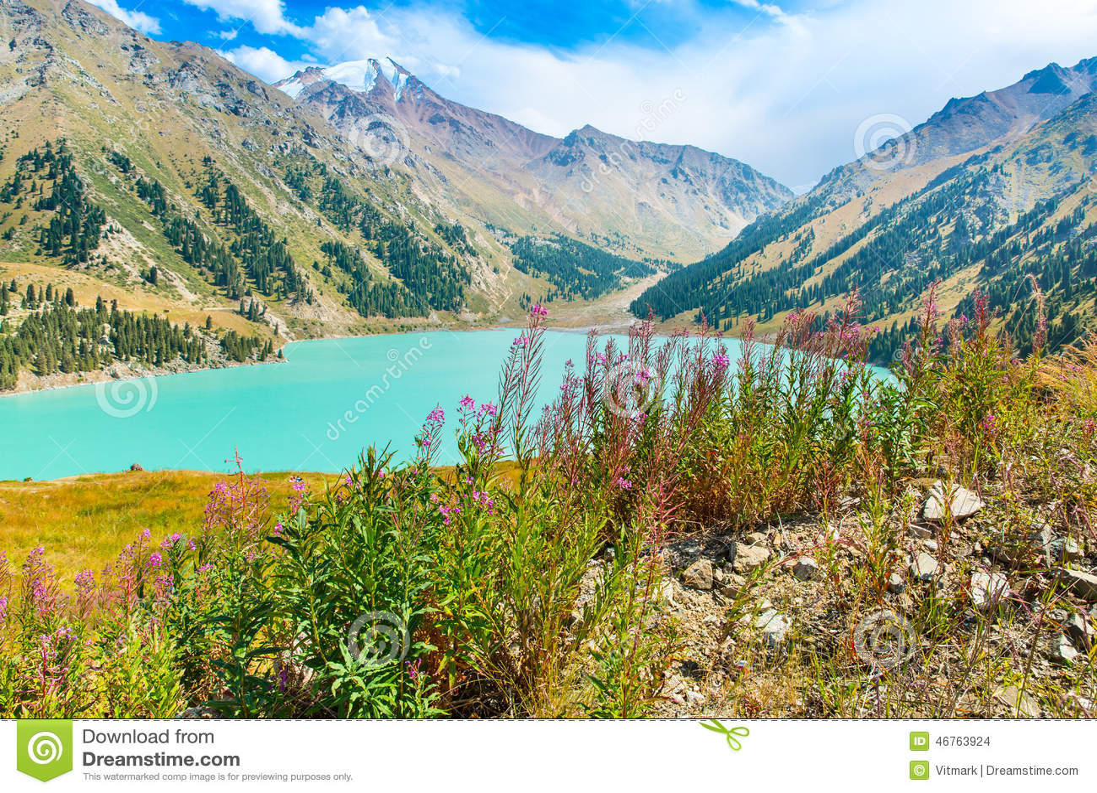 Spectacular scenic Big Almaty Lake ,Tien Shan Mountains in Almaty, Kazakhstan