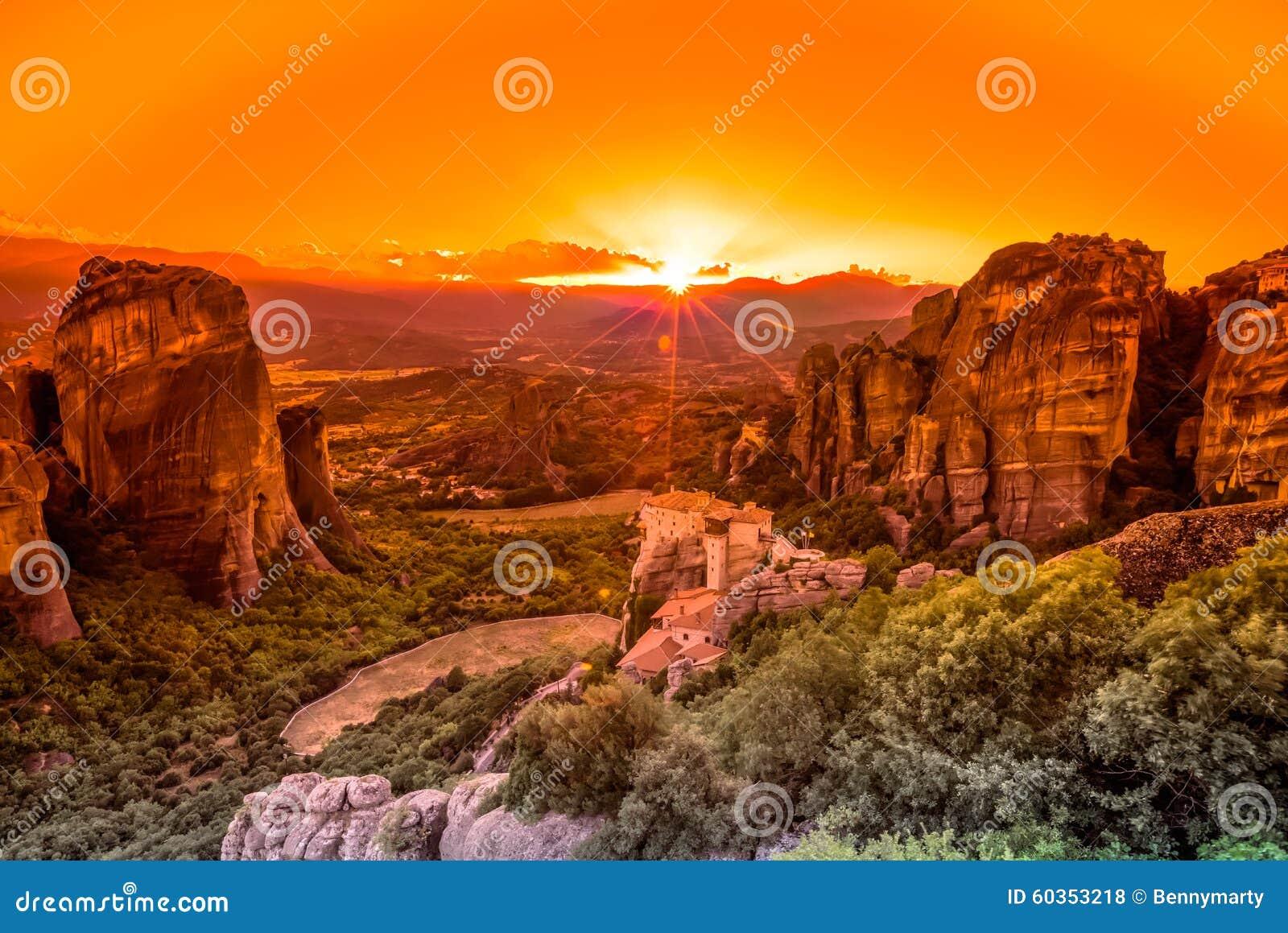 Spectacular sunset in Meteora Monasteries