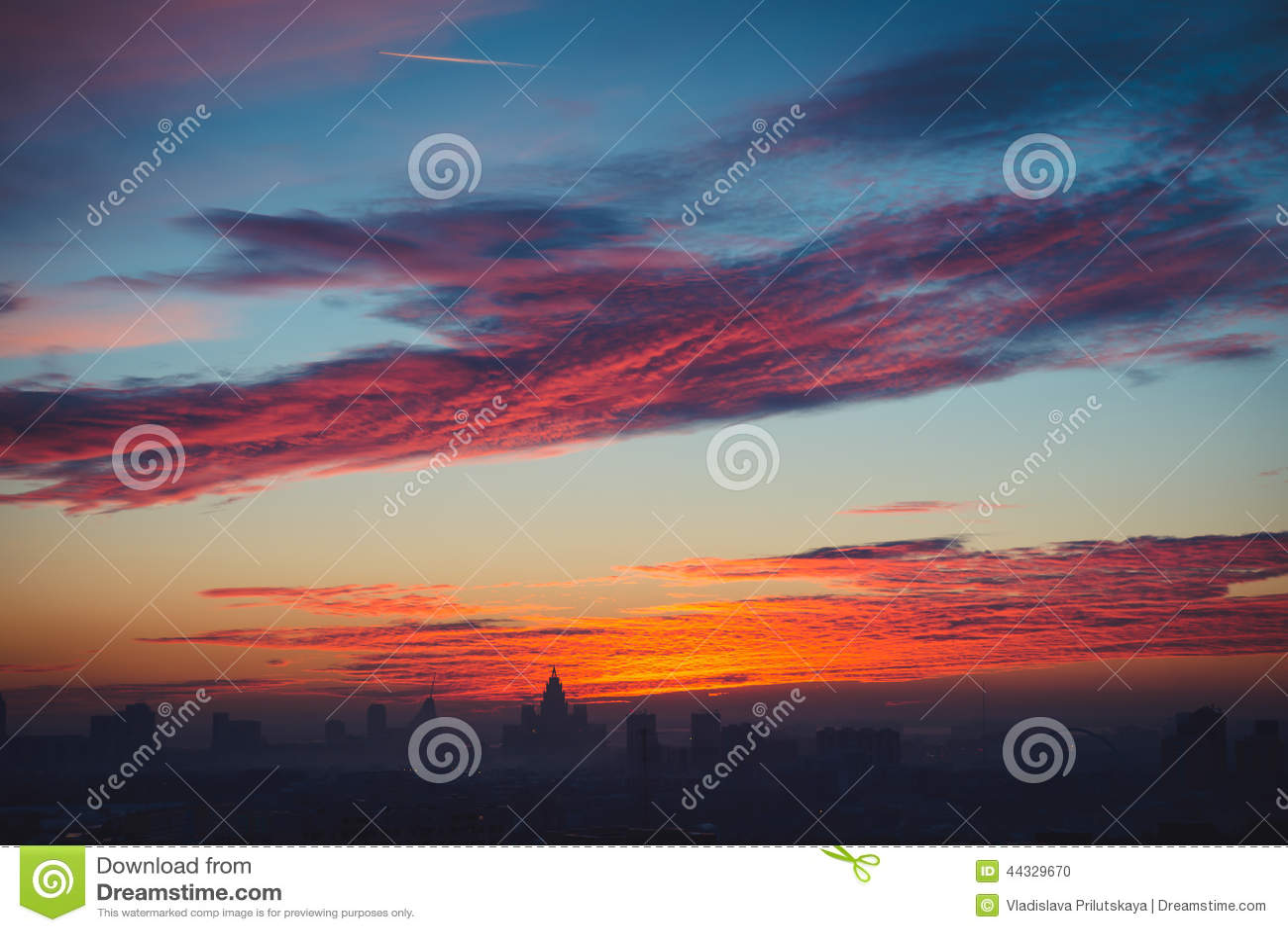 Spectacular view on sunset in Astana city, Kazakhstan