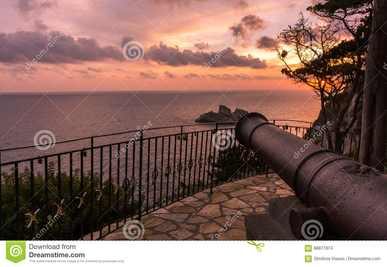 Spectacular view of the sunset from the cannon in Palaiokastritsa Corfu Greece.