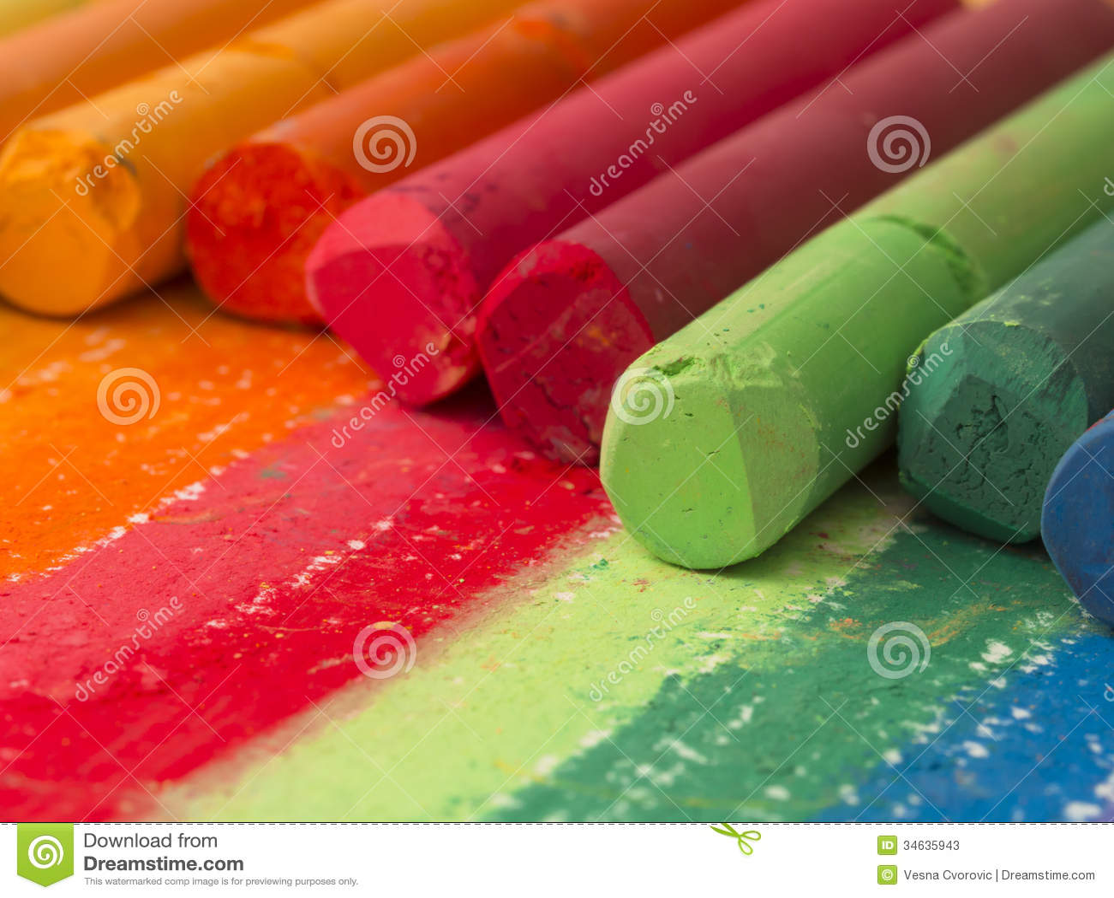 spectrum of artistic crayons stock photos image 34635943