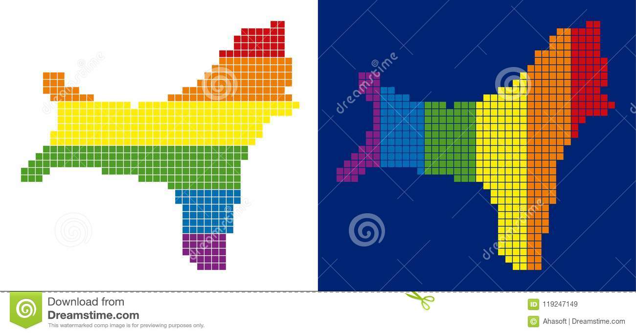 Spectrum Pixel Dotted Christmas Island Map Stock Vector
